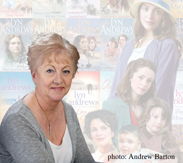 Lyn Andrews and a selection of book covers and characters from her novels